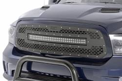 Grille - Rough Country - ROUGH COUNTRY DODGE MESH GRILLE W/30IN DUAL ROW BLACK SERIES LED (13-18 RAM 1500)